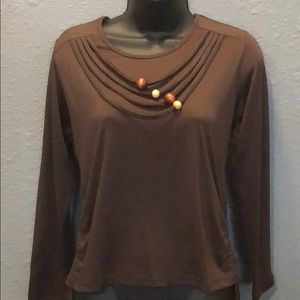Tops - Long Sleeve Brown Beaded Necklace Shirt.       014
